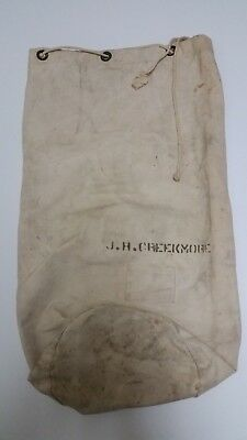 Named WW2 US Navy Military White Canvas Duffle Barracks Laundry Bag