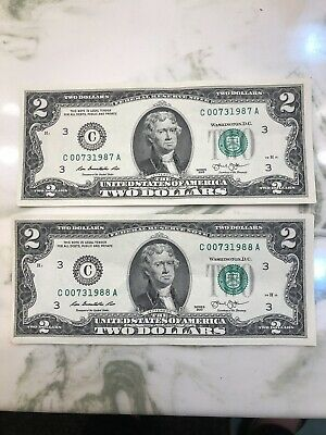 $2 Two Dollar bill note  Lucky Fancy With clear case Crisp