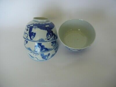 Set of Four Antique Chinese Blue and White Porcelain Bowls 19th C. Scholar Scene