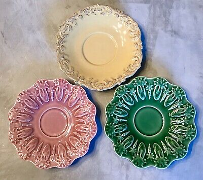 BORDALLO PINHEIRO Portugal RABBIT PINK & Green Saucers + Bonus Yellow Saucer
