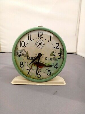 Rare Vintage Early Bird Wind Up Alarm Clock Robin Pulling Worm (serviced) 1930's