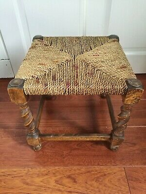 Small Vintage Woven Wicker Wooden Foot Stool / Child Stool