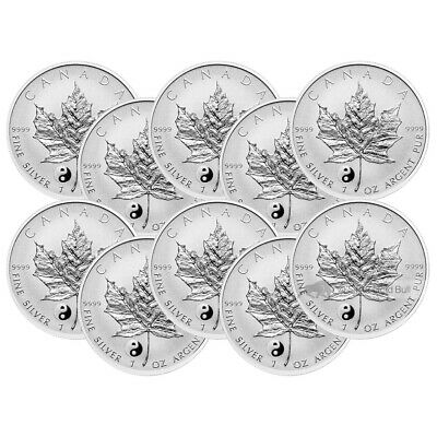 Lot of 10 x 1 oz 2016 Canadian Maple Leaf Yin Yang Privy Reverse Proof Silver Co