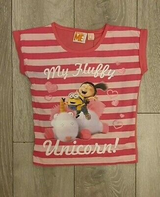 PRIMARK Girls MY FLUFFY UNICORN T Shirt Tee Top AGNES MINIONS DESPICABLE ME  4-7