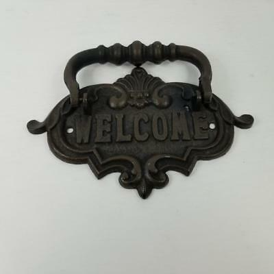 """Rare Cast Iron Welcome Vintage Brown Door Knocker 8.5"""" inches Wide"""