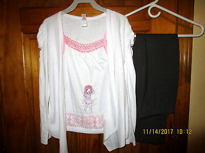 GIRL'S OUTFIT SIZE 10, white top and dark gray leggings ,for girls,new