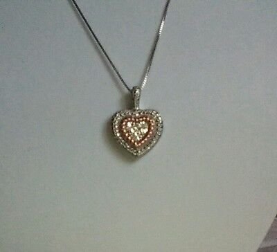 Sterling Silver & 14K Rose Gold Diamond Accent Heart Pendant Necklace (Ret $199)