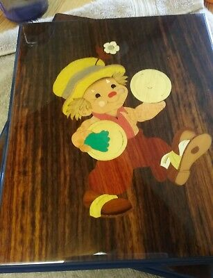 Pair of Inlaid Wooden Sorrento Pictures Depicting Clowns