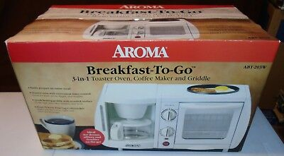 Space-Saver Aroma 3 In 1 Breakfast-To-Go Coffeemaker-Griddle-Toaster Oven New