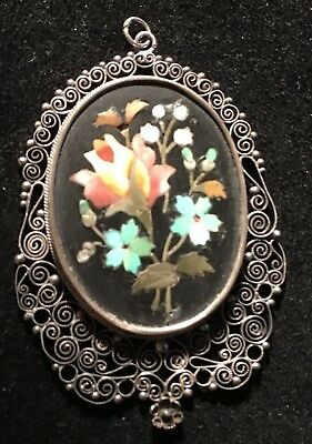 LOVELY Antique Mosaic Pietra Dura Pendant Necklace Stone Filigree Setting