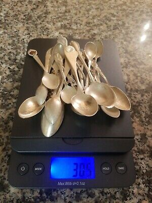 Lot of 20 Vintage STERLING SILVER Spoon Collection 305g