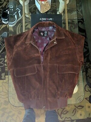 56b1337a69d5c Vintage Men s GV Hand Made in Italy Brown Burgundy Suede Bomber Jacket XL