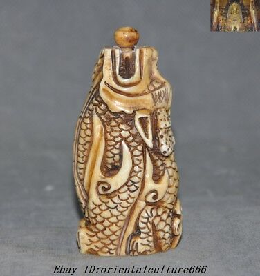 A Rare Chinese Fengshui Old Cattle Bone Carved Animal Dragon Statue snuff bottle