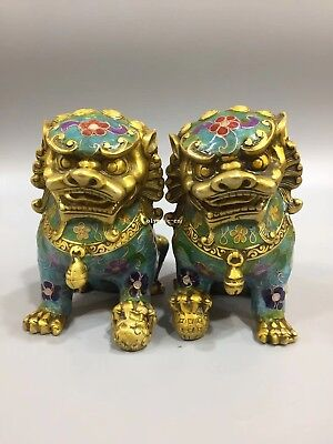 Pair 5''bronze copper gold cloisonne enamel flower treasure foo dogs lion statue