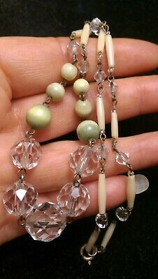 Art Deco?/Vintage Clear/Green/Tube Glass Bead Necklace