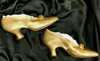 Antique Wanamaker's French Gold-Metallic Victorian Ladies Shoes - Museum Theater