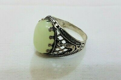 Vintage Ring islamic Design Natural Luminous Stone Glowing 925 Sterling Silver