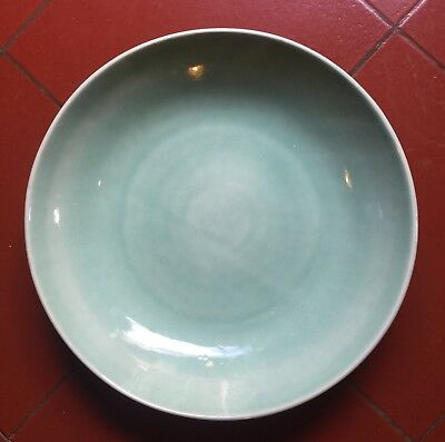 A Large Old and Antique Chinese Green celadon Late Qing Dynasty Porcelain Plate