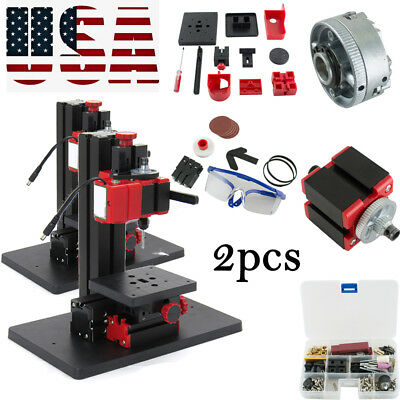 2xPRO Micro Lathe DIY Machine Jigsaw Milling Drilling Sanding Wood-turning Metal