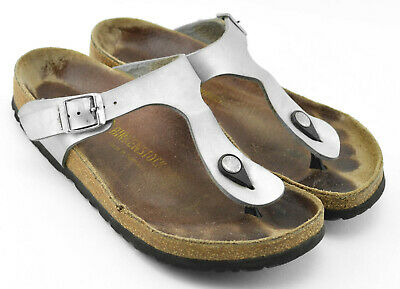 0f87af14e69 Womens Birkenstock Gizeh Sandals Size 7 - 7.5 Us 38 Eu Silver Brown Leather  Cork