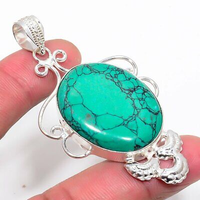 Lovely Santa Rosa Turquoise 925 Silver Plated Jewelry Pendant 2.56 Inch