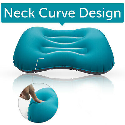 Air Pillow Inflatable Cushion Portable Head Rest Compact Travel Camping Blue