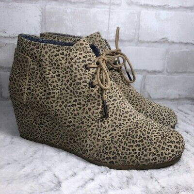 e59dc1ae9a3 TOMS DESERT WEDGE Cheetah Leopard Up Ankle Boots Animal Print US 9 ...