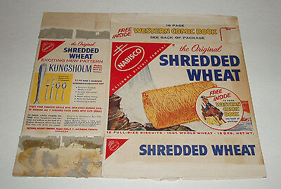 1950's Nabisco Shredded Wheat Cereal Box w WESTERN Comic Book premium offer