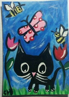 ACEO ORIGINAL BLACK CAT BUTTERFLIES TULIPS BEE'S ACRYLIC WATERCOLOR  2000-now