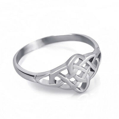 Women Delicate Irish Celtic Knot Pattern Band Ring Vintage Jewelry Gift SW