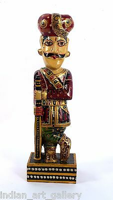 Vintage Style HandCrafted Painted Wooden Rajasthani Gate Keeper Décor. i71-60 US