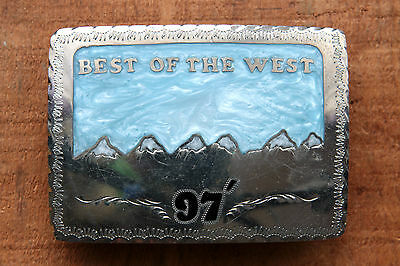 Vintage Hand Made BEST OF THE WEST 97 Mother of Pearl Inlay Western Belt Buckle