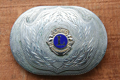 Vintage Western Flair Hand Made Lions Clubs International Western Belt Buckle