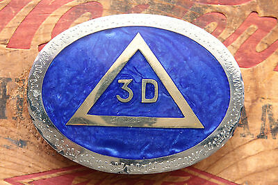 Vintage Hand Made Mother of Pearl Inlay 3D Mason Masonic Belt Buckle