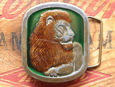 Vintage Indiana Metal Craft Pewter Lion Belt Buckle