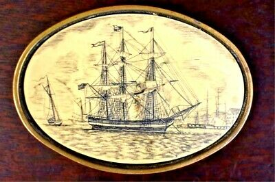 Barlow Solid Brass Vintage Belt Buckle Scrimshaw Style GALLEON SHIP  Insert 1981