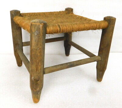 Antique Rustic Rope Hemp Foot Milking Stool Colonial Dutch Mission 19th cent