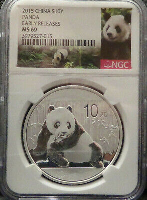 2015 China Silver Panda (1 oz) 10 Yuan - NGC MS69 - First Releases - Panda Label