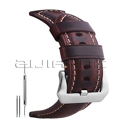 e883a1469 22mm Genuine Leather Watch Band Red Crazy Horse Wrist Straps with Silver  Buckle