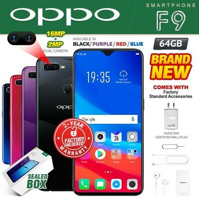 New & Sealed Factory Unlocked OPPO F9 Black Blue Red Purple 64GB Android Phone