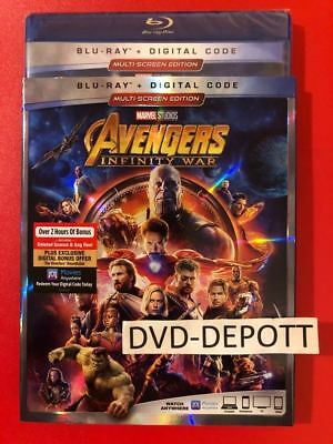 MARVEL Avengers: Infinity War Blu-ray + Digital HD & Slipcover New Free Shipping