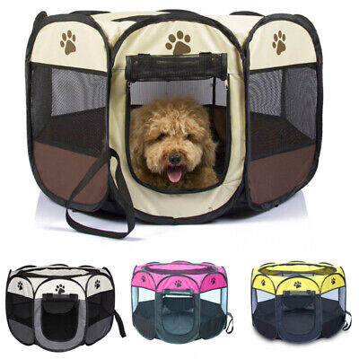 Oxford Pet Playpen Kennel Fence Cage Dog Enclosure Tent Garden Bed Travel Crate