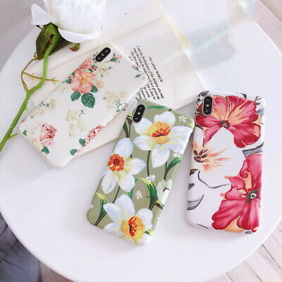 Floral Pattern Cover IMD Silicone Shockproof Case For iPhone XS Max XR 8 7 Plus