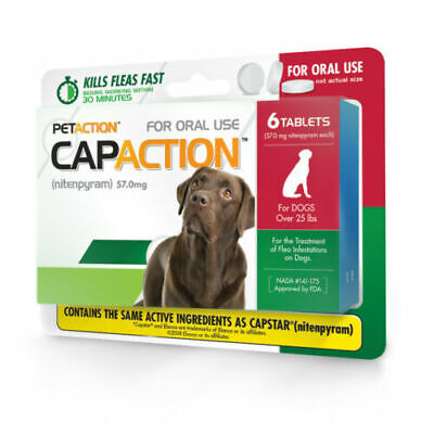 NEW CAPACTION for Dogs over 25lbs Flea Treatment Works Fast! 6 Tabs SALE!
