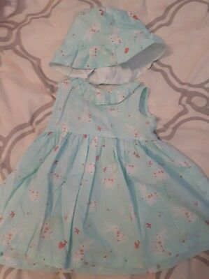 bluezoo baby girl 3-6 month dress and hat