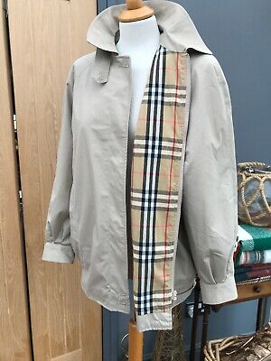 Ladies BURBERRY Beige Bomber Harrington PLAID NOVA Cotton Jacket 12 Reg