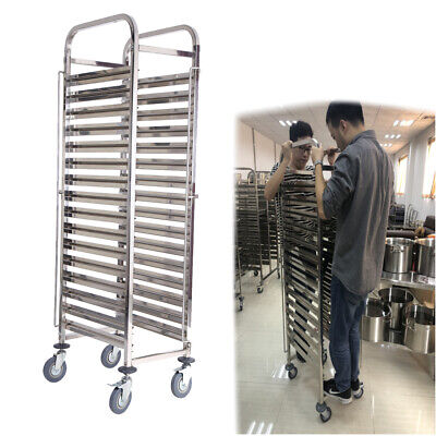 16 Levels Stainless Steel Gastronorm Bakery Trolley Cart Cake Hotel Shelving