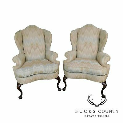 Pennsylvania House Criterion 60 Queen Anne Style Pair Flame Stitch Wing Chairs