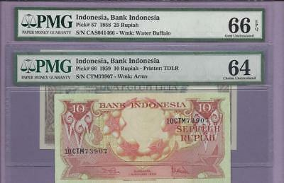 Indonesia, Bank of Indonesia  Pick # 57 and 66  PMG **SCROLL DOWN FOR SCANS**