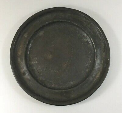"Antique Pewter Plate/Dish ""MAM"" Maksrs Mark To Base 25.5cm Diameter"
